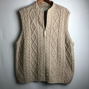 Orvis cable knit wool vest